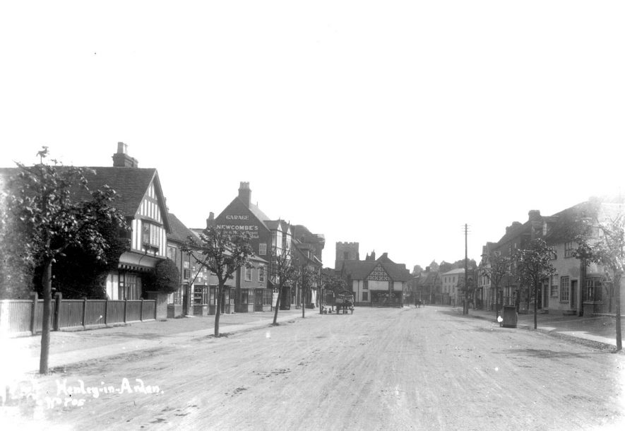 High Street, Henley in Arden with shops and timbered house.  1910s |  IMAGE LOCATION: (Warwickshire County Record Office)
