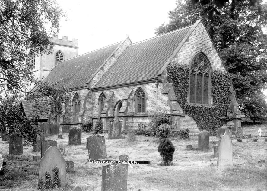 St Lawrence Church and churchyard, Lighthorne.  1930s |  IMAGE LOCATION: (Warwickshire County Record Office)