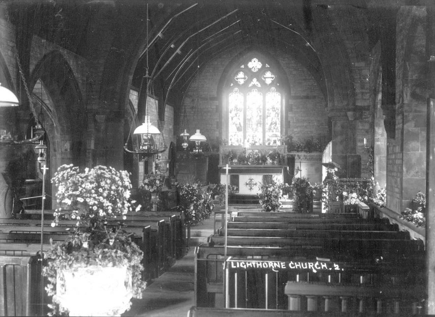 Interior of St Lawrence's church, Lighthorne.  1930s |  IMAGE LOCATION: (Warwickshire County Record Office)