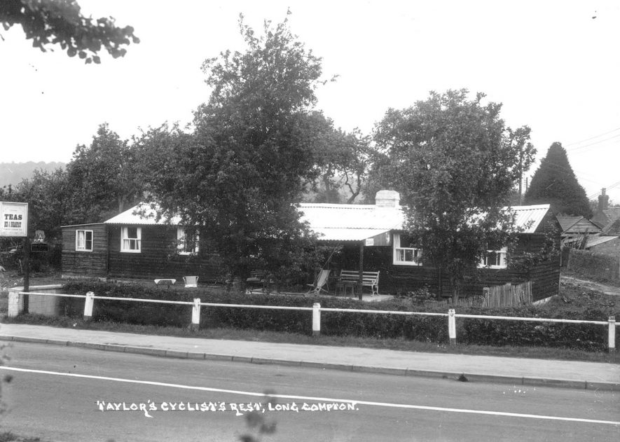 A corrugated tin roofed cafe known as Taylor's Cyclist's Rest, Long Compton.  1930s |  IMAGE LOCATION: (Warwickshire County Record Office)