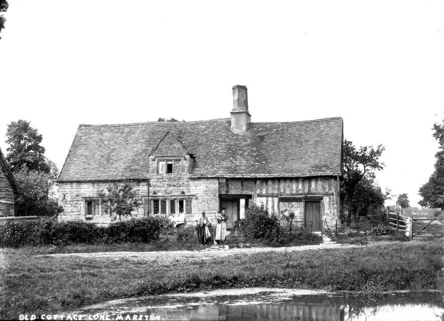 Old part timber framed house in Long Marston.  1900s |  IMAGE LOCATION: (Warwickshire County Record Office)