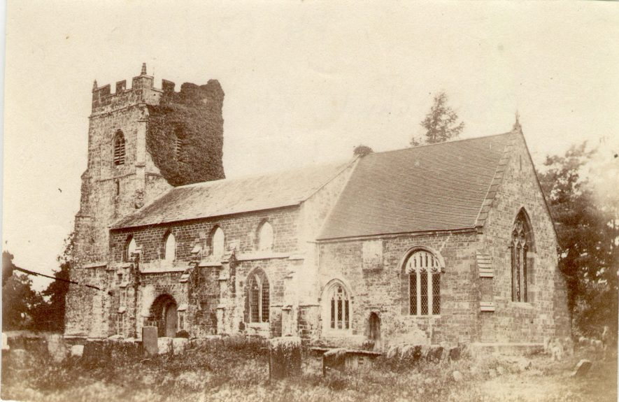 St Lawrence' Church Oxhill before the 1877 restoration.  1870s |  IMAGE LOCATION: (Warwickshire County Record Office)