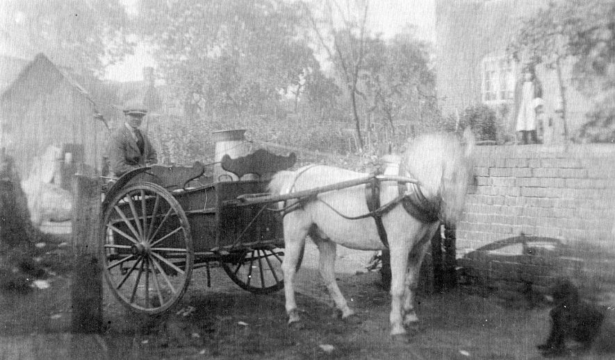 Mr Sam Cleaver, Cubbington village milkman with his horse and cart.  1919 |  IMAGE LOCATION: (Warwickshire County Record Office)