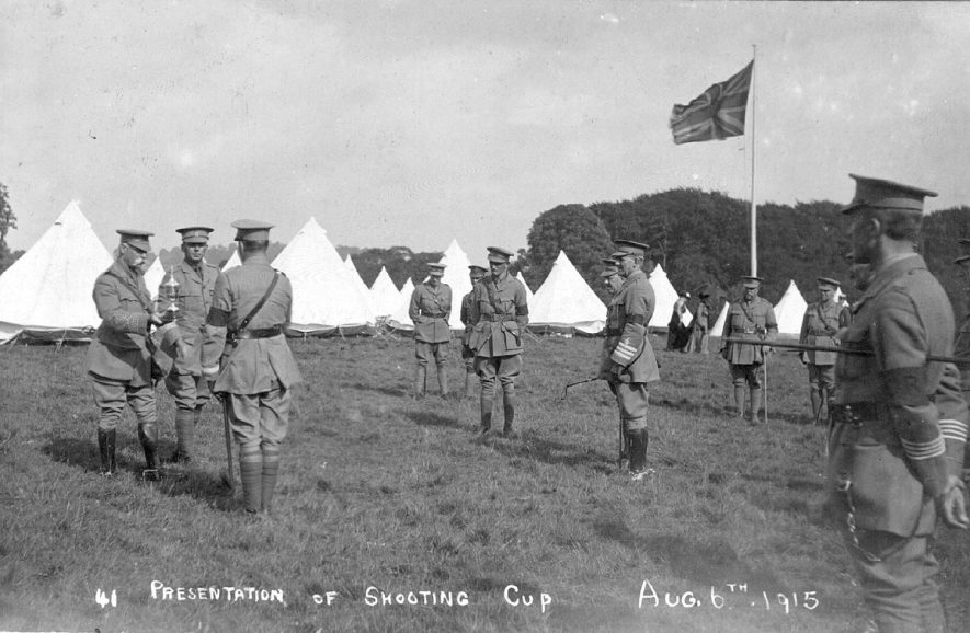 Soldiers at camp in Ragley Park, Arrow at the presentation of the shooting cup.  August 6th 1915 |  IMAGE LOCATION: (Warwickshire County Record Office)