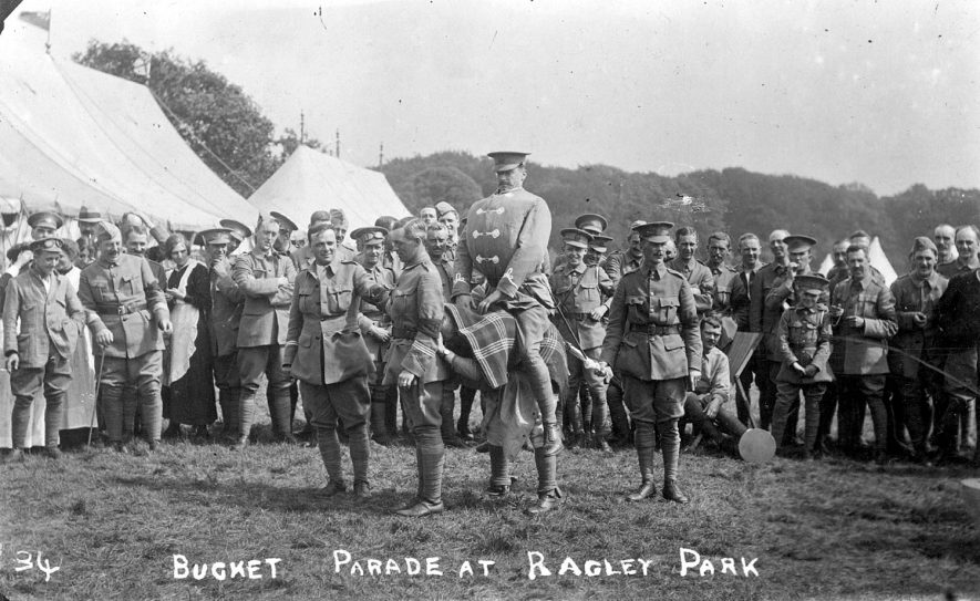 Soldiers at a bucket parade at Ragley Park, Arrow.  1915 |  IMAGE LOCATION: (Warwickshire County Record Office)