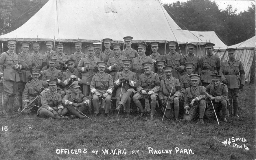 Officers of W.V.R.C at Ragley Park, Arrow.  1915 |  IMAGE LOCATION: (Warwickshire County Record Office)