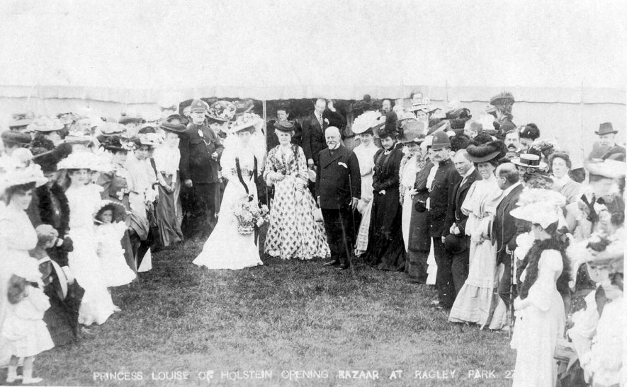Princess Louise of Holstein opening a bazaar in Ragley Park.  1900s |  IMAGE LOCATION: (Warwickshire County Record Office) PEOPLE IN PHOTO: Holstein, Princess Louise of