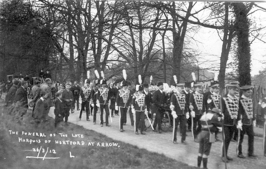 Funeral procession of the late Marquis of Hertford passing through Arrow.  March 26th 1912 |  IMAGE LOCATION: (Warwickshire County Record Office)
