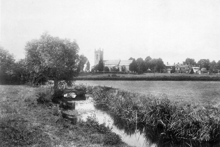 A view looking towards St Matthews church and vicarage, Salford Priors.  1900s |  IMAGE LOCATION: (Warwickshire County Record Office)