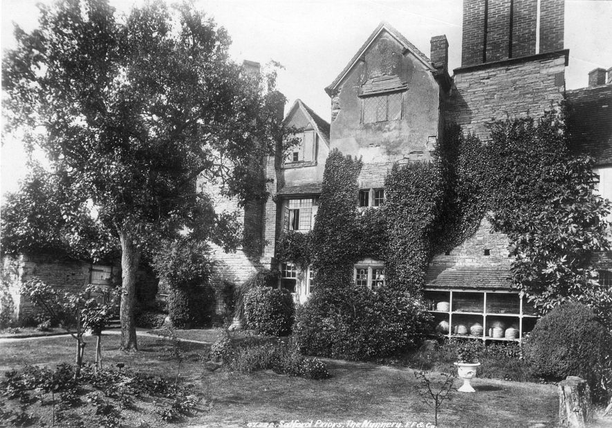 Exterior of The Nunnery, Salford Hall, Salford Priors.  1900s |  IMAGE LOCATION: (Warwickshire County Record Office)