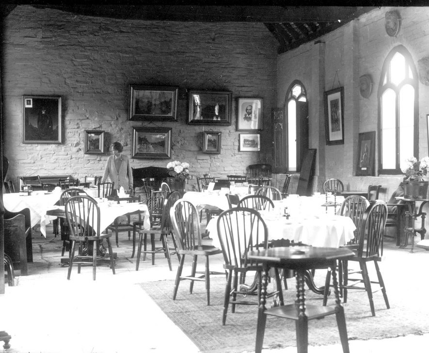 Interior of Hathaway Farm tearooms, Shottery.  1920s |  IMAGE LOCATION: (Warwickshire County Record Office)