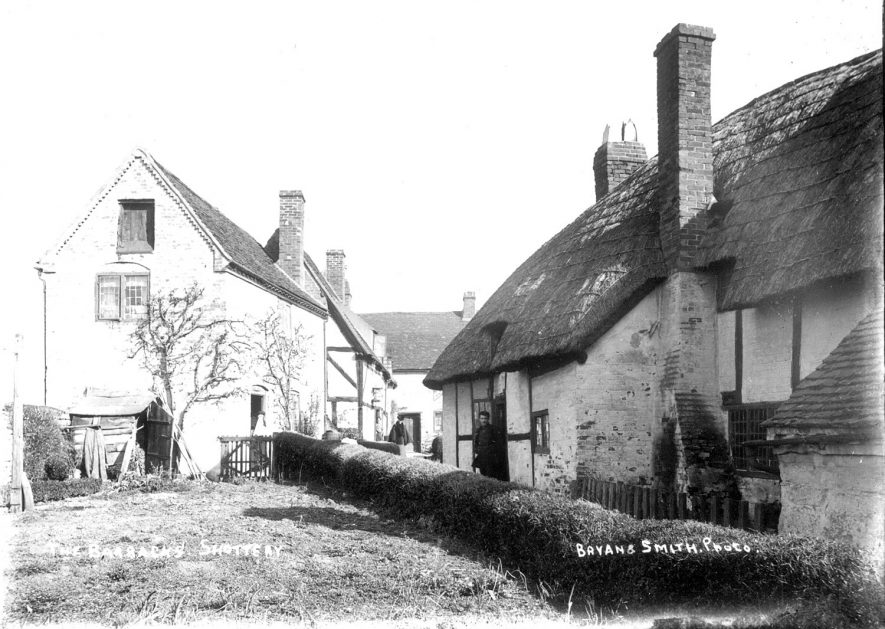Group of cottages known as The Barracks, Shottery.  1900s |  IMAGE LOCATION: (Warwickshire County Record Office)