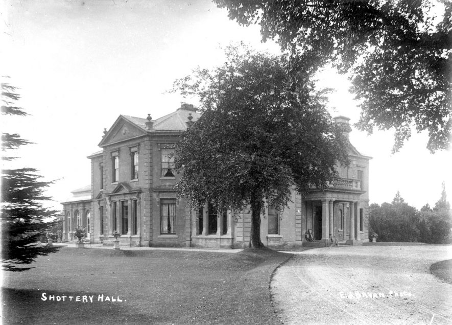 Exterior view of Shottery Hall, Shottery.  1900s |  IMAGE LOCATION: (Warwickshire County Record Office)