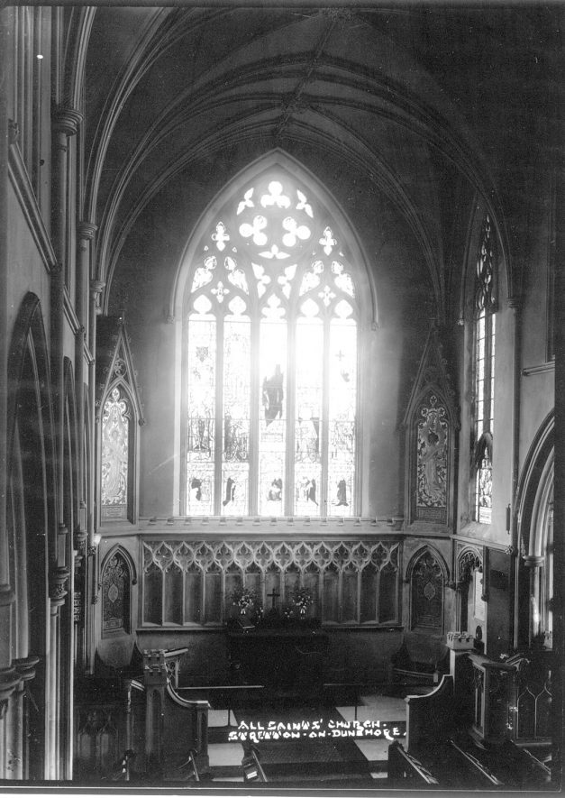 Interior of All Saints church, Stretton on Dunsmore.  1930s |  IMAGE LOCATION: (Warwickshire County Record Office)
