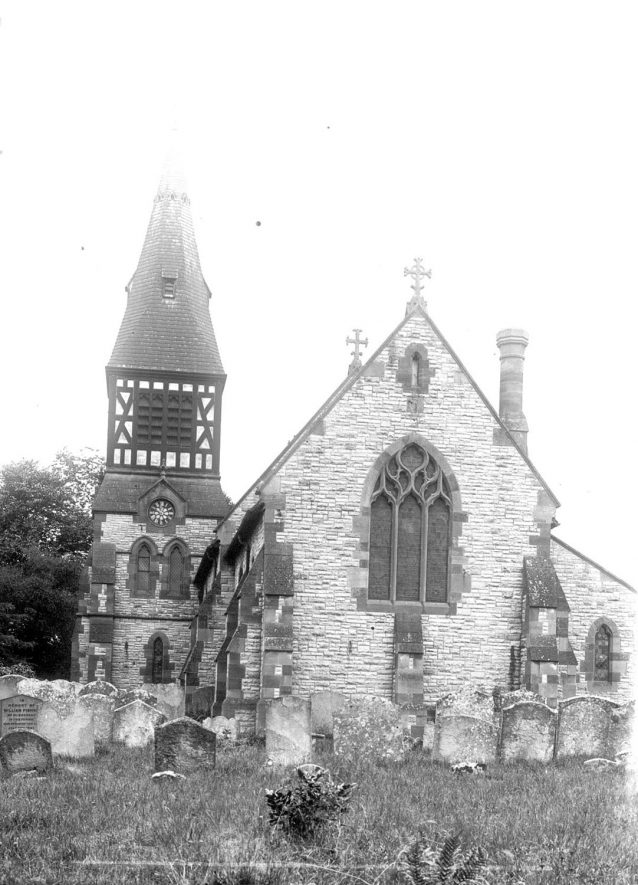 St Andrew's church and churchyard from the east, Temple Grafton.  1900s |  IMAGE LOCATION: (Warwickshire County Record Office)