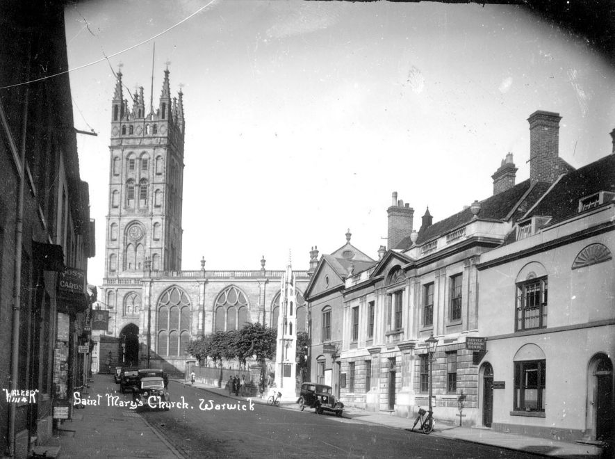 St Mary's church, Warwick, seen from Church Street.  1930s |  IMAGE LOCATION: (Warwickshire County Record Office)