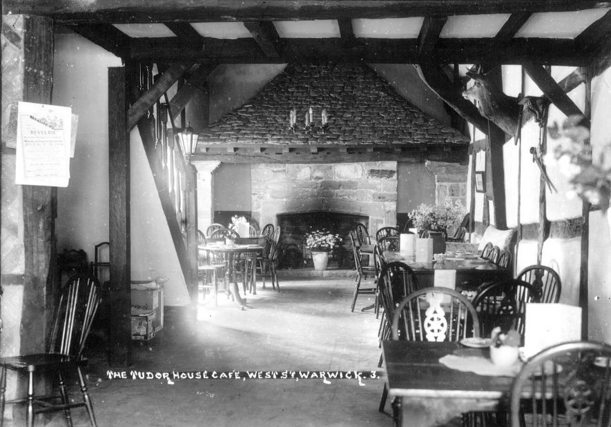 Interior of Tudor House Cafe in Stratford Road, Warwick.  1930s |  IMAGE LOCATION: (Warwickshire County Record Office)