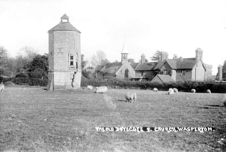 Wasperton dovecote and church.  1930s |  IMAGE LOCATION: (Warwickshire County Record Office)