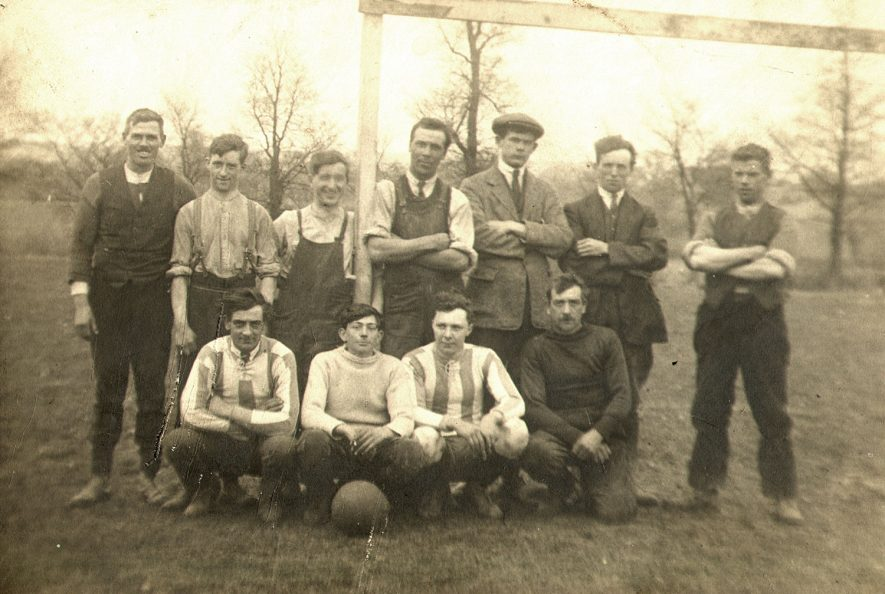Offchurch football team in the 1900s. Bernard Rose is third from the right in the back row and Alan Rose, goalkeeper, is with the ball in the front row. |  IMAGE LOCATION: (Warwickshire County Record Office) PEOPLE IN PHOTO: Rose, Bernard, Rose as a surname