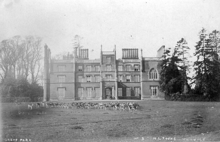 Grove Park House, Budbrooke with group of deer in front.  1900s |  IMAGE LOCATION: (Warwickshire County Record Office)