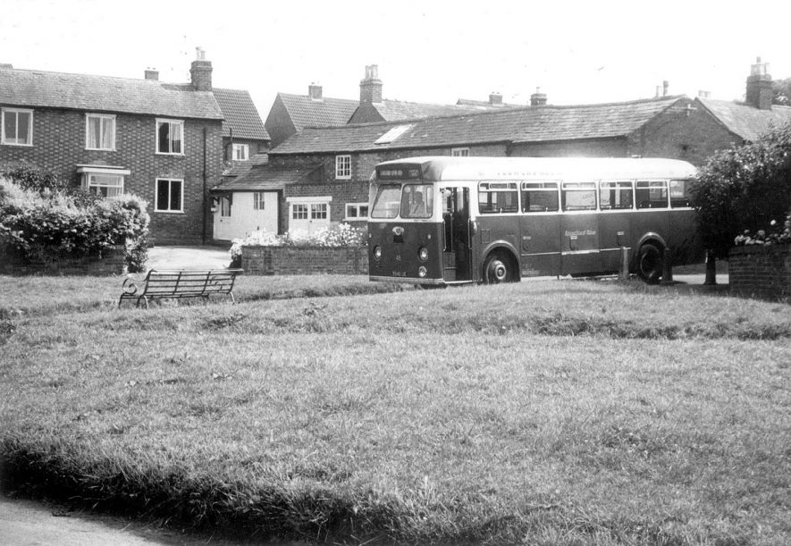 A Stratford Blue bus at the terminus in Alveston.  1967 |  IMAGE LOCATION: (Warwickshire County Record Office)
