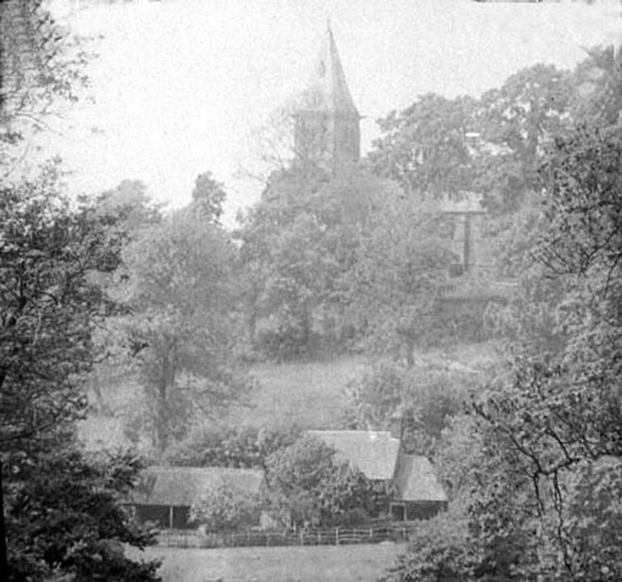 View of  Winderton Church & cottage in the foreground ('Alice Hyde's cottage').  1900s |  IMAGE LOCATION: (Warwickshire Museums. Photographic Collections.)