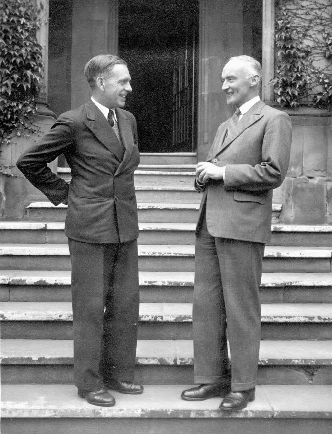 Sir Arthur fford, the newly appointed head master at Rugby School & Mr P.H.B. Lyon, retiring head master, on the steps of School House.  July 1948 |  IMAGE LOCATION: (Rugby Library) PEOPLE IN PHOTO: Lyon, P H B, Lyon as a surname, Fford, Sir Arthur, Fford as a surname