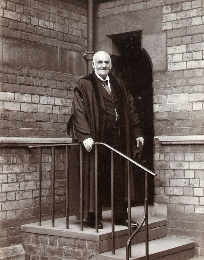 Mr James Gilbert, a boot and shoemaker in St Matthew's Street, Rugby.  He was also the Verger at Rugby School for about forty three years.  1900s    IMAGE LOCATION: (Rugby Library) PEOPLE IN PHOTO: Gilbert, James, Gilbert as a surname