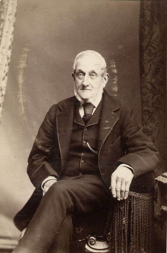 Portrait photograph of James Ladbrooke who was in business as a bootmaker at 19 Chapel Street, Rugby from around 1854 until 1887.  1880s |  IMAGE LOCATION: (Rugby Library) PEOPLE IN PHOTO: Ladbrooke, James, Ladbrooke as a surname