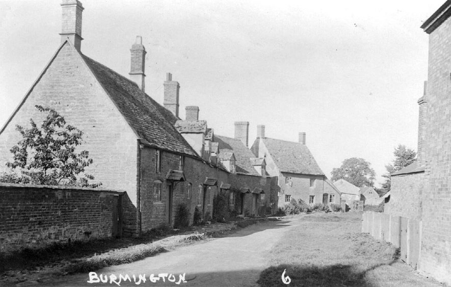 Village street with row of houses. Burmington.  1920s |  IMAGE LOCATION: (Warwickshire County Record Office)