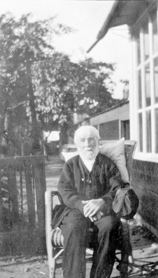 Mr Henry Lister of Rugby. Mr Lister was the first telegraph clerk at the L.M.S. Station and this photograph was taken on his 100th birthday in 1930. |  IMAGE LOCATION: (Rugby Library) PEOPLE IN PHOTO: Lister, Henry, Lister as a surname