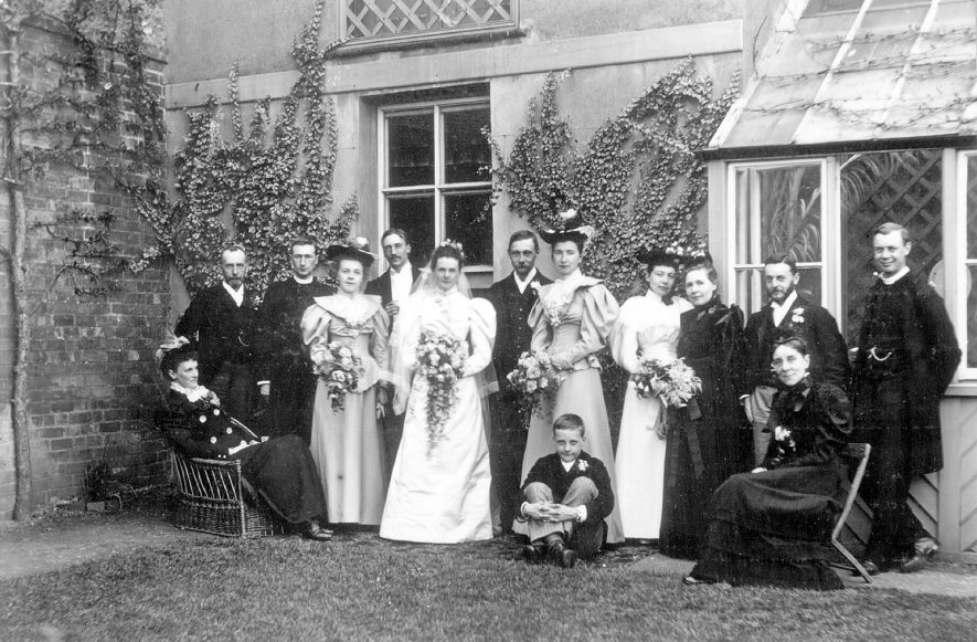 The wedding group of Mr J.J. McKinnell and Miss Grace Eldridge in Rugby in 1894. Mr McKinnell was the first mayor of Rugby from 1932-1934. |  IMAGE LOCATION: (Rugby Library) PEOPLE IN PHOTO: McKinnell, Mr J J, McKinnell as a surname, Eldridge, Grace, Eldridge as a surname