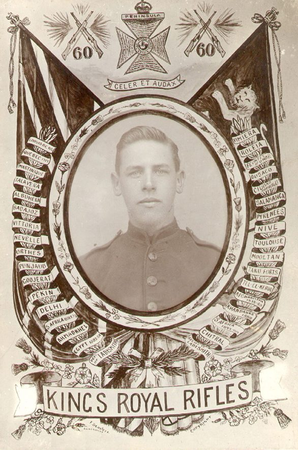 Rifleman C.G. Read, of Rugby, 2nd Battalion King's Royal Rifle Corps.  Enlisted 22 January 1914.  Killed in action 15 December 1916.  1914 |  IMAGE LOCATION: (Rugby Library) PEOPLE IN PHOTO: Read, C G, Read as a surname