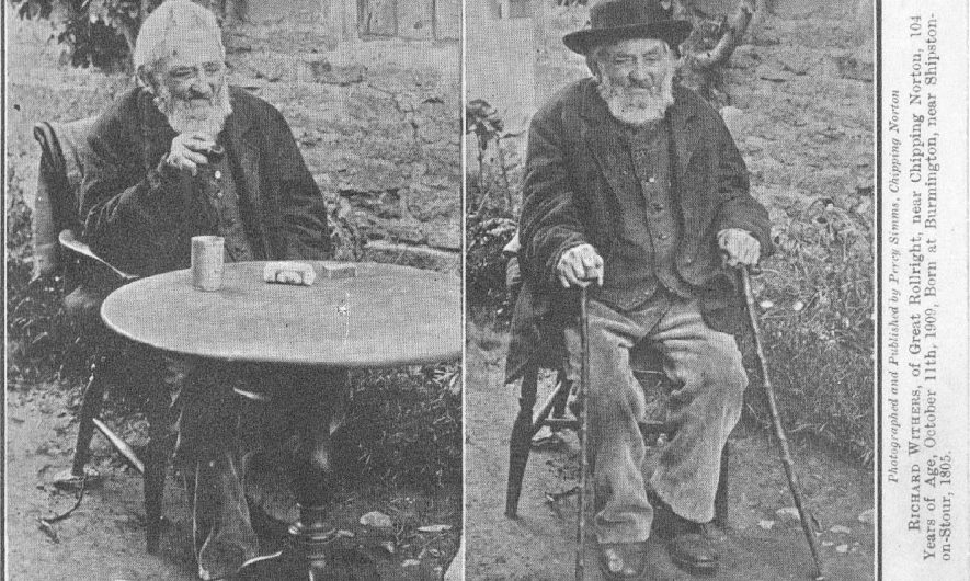 Photograph of Richard Withers, of Great Rollright, near Chipping Norton. 104 years of age, October 11th 1909. Born at Burmington 1805. |  IMAGE LOCATION: (Warwickshire County Record Office) PEOPLE IN PHOTO: Withers, Richard, Withers as a surname