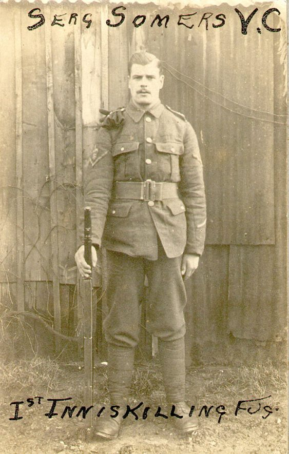 Sgt James Somers V C , 1st Inniskilling Fusiliers, billeted with Mr & Mrs William Burn at 16, Chester Street, Rugby, early in 1915.  He came from Clough-Jordan, Tipperary.  He was awarded the Victoria Cross for gallantry in holding a trench at the Dardanelles.  1915 |  IMAGE LOCATION: (Rugby Library)