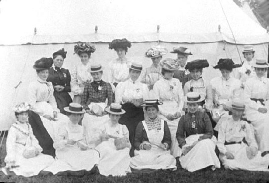 Group of ladies outside tent in Lower Brailes.  1900s |  IMAGE LOCATION: (Warwickshire Museums. Photographic Collections.)