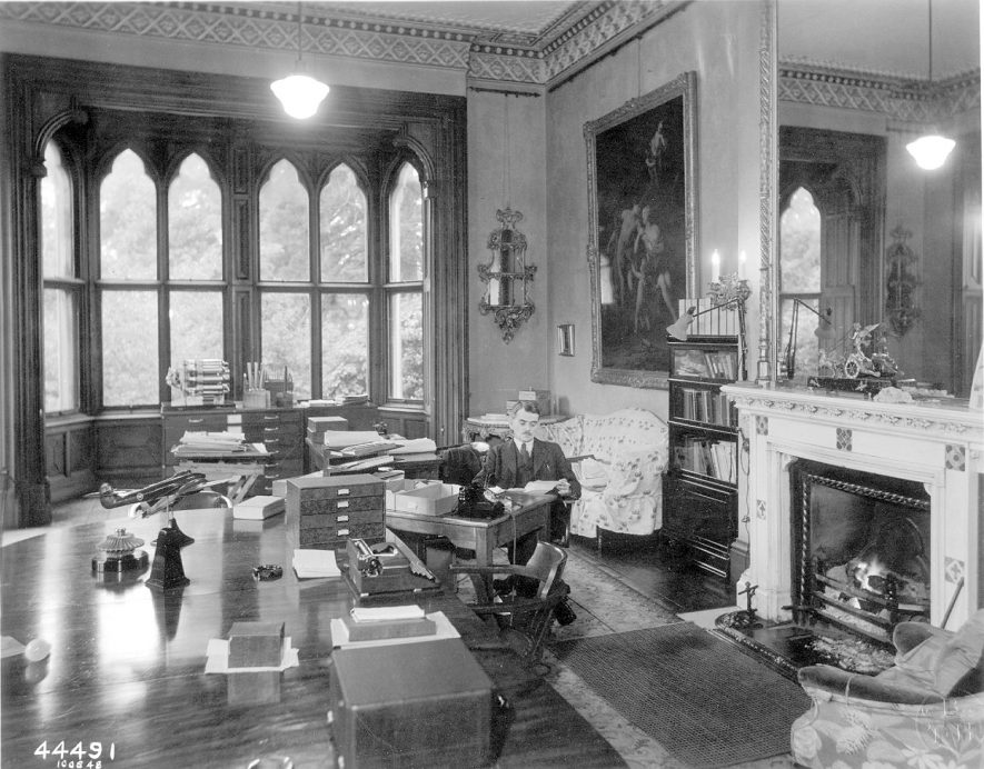Sir Frank Whittle in his office at Brownsover Hall where design work on the jet engine was carried out from 1940.  The room was formerly a drawing room.  1948 |  IMAGE LOCATION: (Rugby Library) PEOPLE IN PHOTO: Whittle, Frank, Whittle as a surname