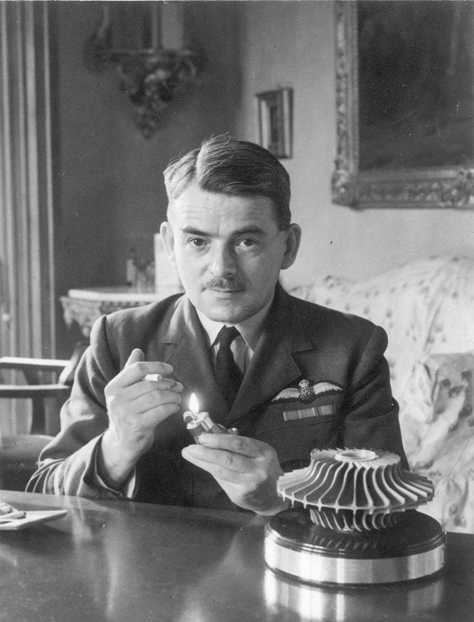 Sir Frank Whittle at Brownsover Hall, Rugby, where design work on jet engine was carried out from 1940s.  1946 |  IMAGE LOCATION: (Rugby Library) PEOPLE IN PHOTO: Whittle, Frank, Whittle as a surname