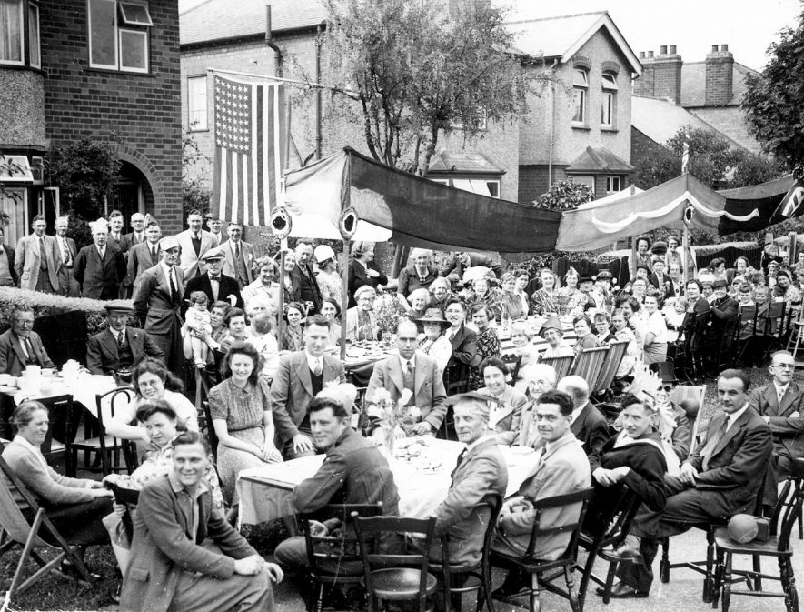 Celebrations in Stanley Road, Rugby on V.E. Day.  May 1945 |  IMAGE LOCATION: (Rugby Library)