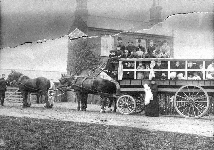 Horses pulling charabanc for family outing at Rugby. 1900s. |  IMAGE LOCATION: (Rugby Library)