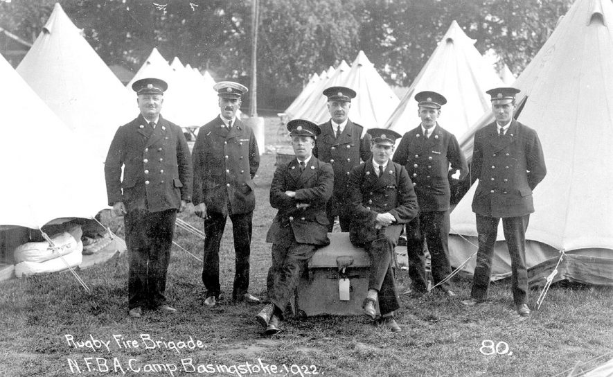 Members of the Rugby Fire Brigade at the N.F.B.A camp at Basingstoke.  1922 |  IMAGE LOCATION: (Rugby Library)
