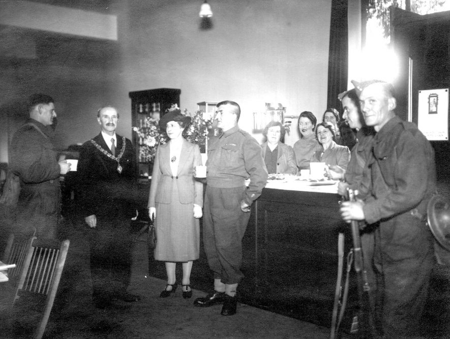 Rugby Y.M.C.A. clubroom and canteen for the forces opened by the Mayor Alderman R.H. Myers.  1940 |  IMAGE LOCATION: (Rugby Library) PEOPLE IN PHOTO: Myers, Alderman R H, Myers as a surname