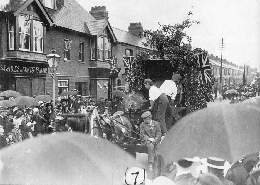 Rugby victory procession.  1918 |  IMAGE LOCATION: (Rugby Library)