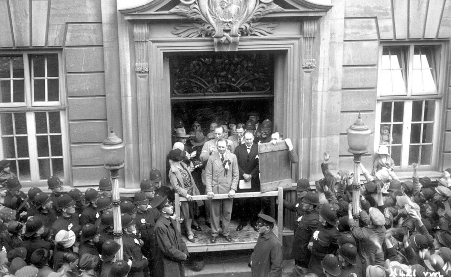 Declaration of the result of the election poll when John Morgan was the successful candidate, Rugby.  1929 |  IMAGE LOCATION: (Rugby Library) PEOPLE IN PHOTO: Morgan, Mr, Morgan as a surname