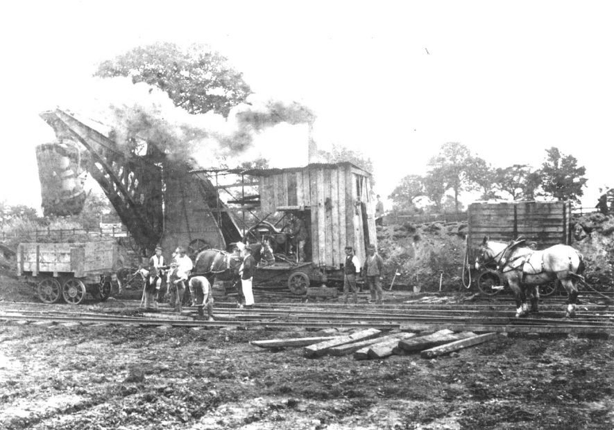 The building of the Great Central railways goods yard in Rugby.  1920s