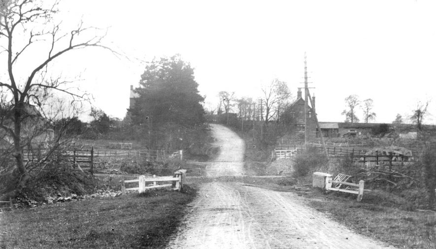 The Watling Street in 1895, showing the first evidence of the Great Central railway line, near Nuneaton.  1895    IMAGE LOCATION: (Rugby Library)
