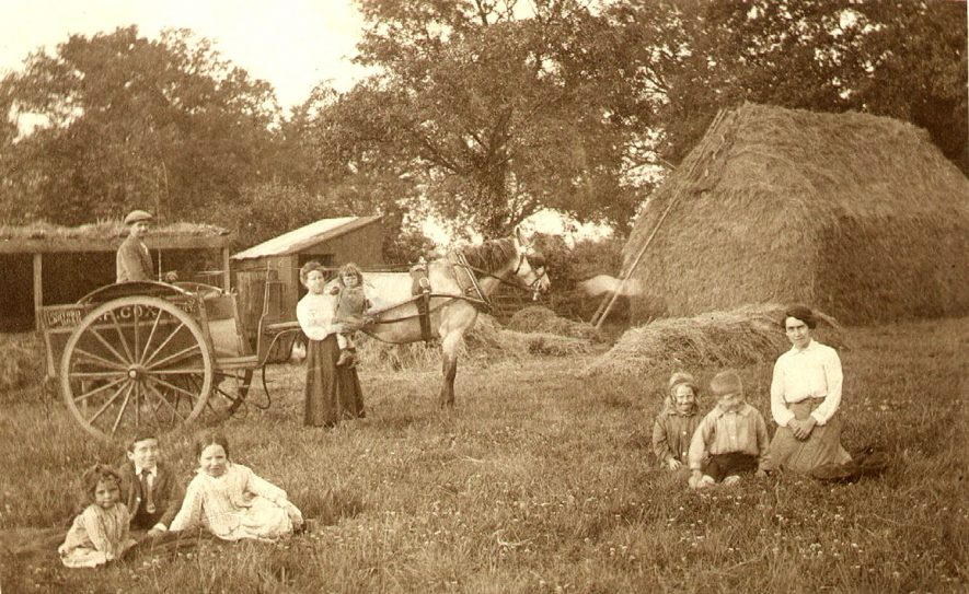 A farming scene with a man and his horse and cart, two women and six children sitting or standing in front of a haystack in Bilton.  1910s |  IMAGE LOCATION: (Rugby Library)