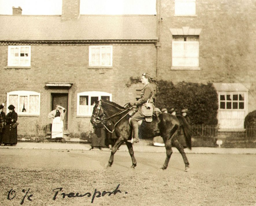 A soldier of the 1st Kings Own Scottish Borderers riding his horse in Bilton.  1915 |  IMAGE LOCATION: (Rugby Library)