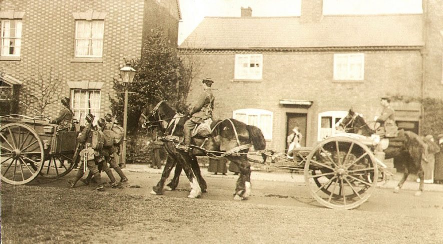 Soldiers of the 1st Kings Own Scottish Borderers passing through Bilton.  1915 |  IMAGE LOCATION: (Rugby Library)