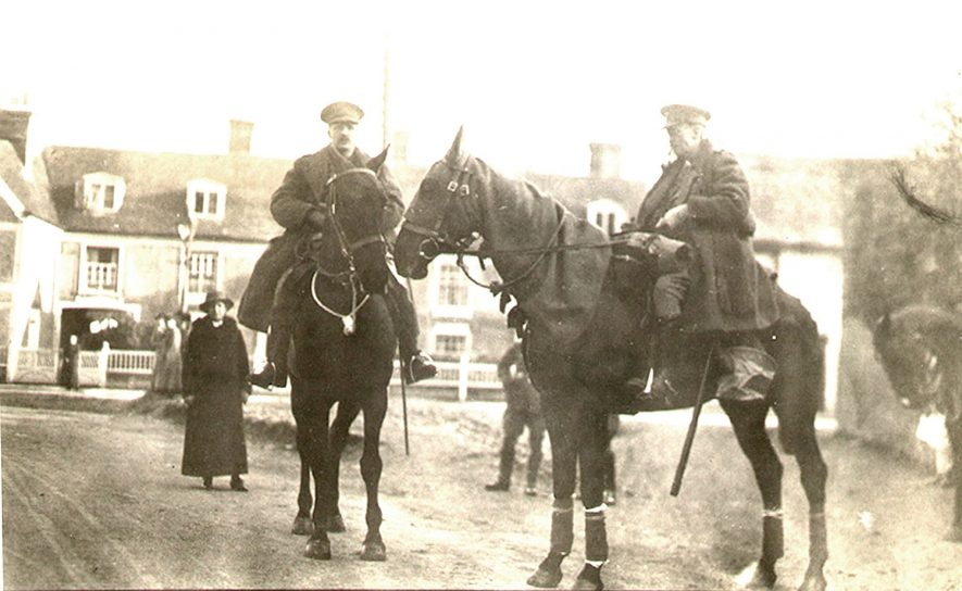 Lt. Colonel F. West and captain G.S. Kidd on their horses at Bilton as they prepare to leave for France at 6-30am on March 29th 1915. |  IMAGE LOCATION: (Rugby Library) PEOPLE IN PHOTO: West, Lt Colonel F, West as a surname, Kidd, Captain G S, Kidd as a surname